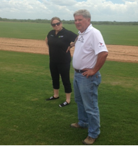 David Doguet has an impressive turf-trial setup, pictured here with Cathryn at his Bladerunner Farms complex in Texas.