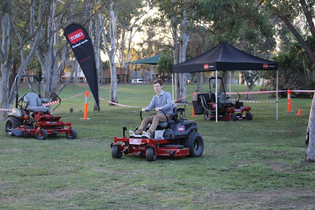 turfmate writer Jordan Crick testing out some of the Toro Machinery